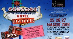 locandina Hotel Olympus spettacolo della compagnia 7D Baldessano Roccati Carmagnola