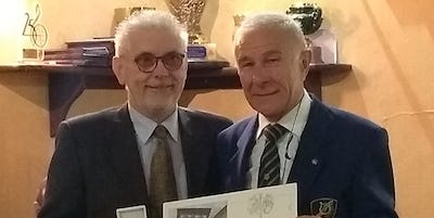Antonio Becchis con Osvaldo Giraudi società Filarmonica di Carmagnola