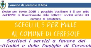 Il 5×1000 al Comune di Ceresole d'Alba