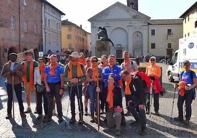 Pellegrini del Cammino di Assisi francese a Carmagnola