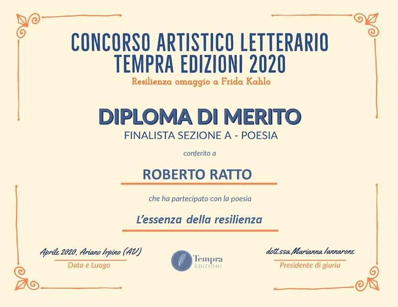 Roberto Ratto diploma Tempra