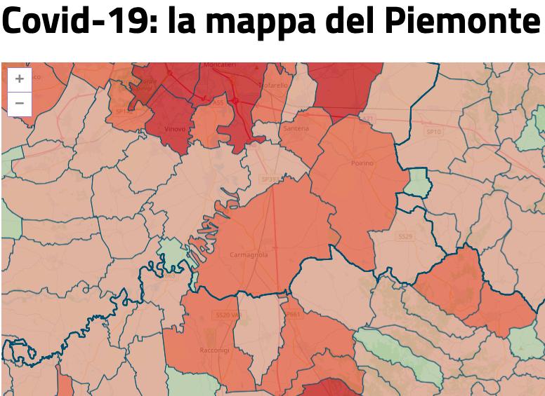 Covid mappa Piemonte contagi area Carmagnolese 20 ottobre