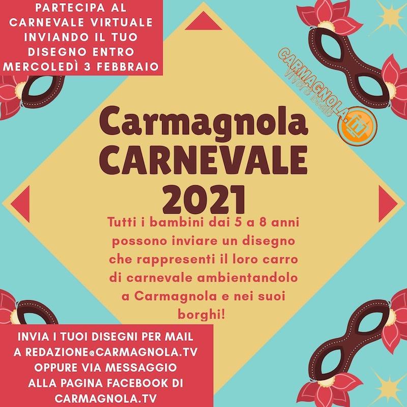 Carnevale 2021 a Carmagnola concorso disegni bambini